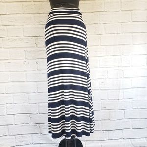 Wasabi + mint blue and white striped maxi skirt